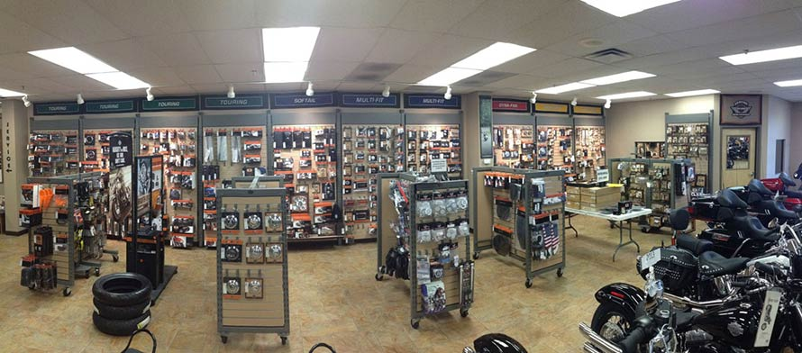 Aisles filled with parts in the showroom.